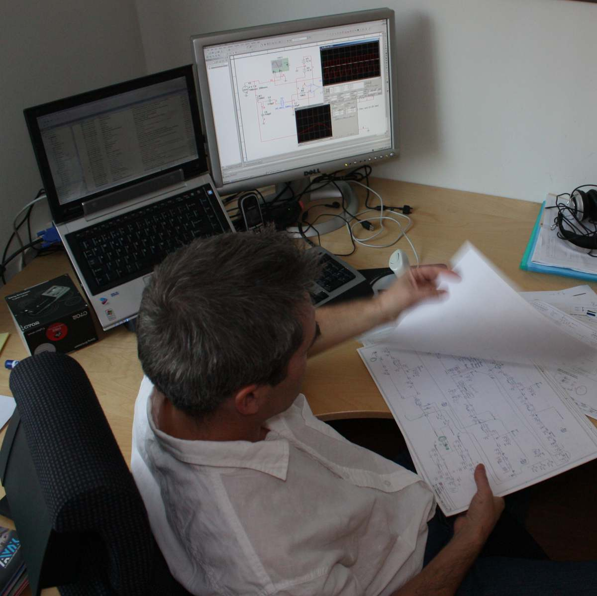 Svein Reviewing Schematic Drawing